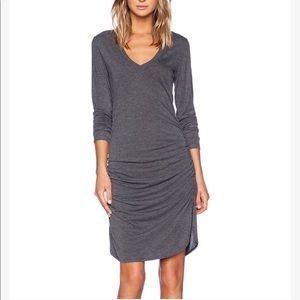 St Grace grey lightweight jersey side ruched dress